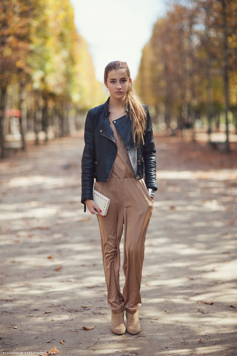 jumpsuit leather jacket