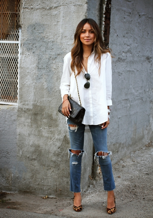 white-button-down-shirt-and-black-crossbody-bag-and-blue-skinny-jeans-and-tan-pumps-original-2449